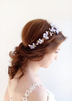lila flores corona, corona floral lavanda, pastel boda, Florista, pedazo del pelo de novia, tocados de novia, flor de color púrpura claro,