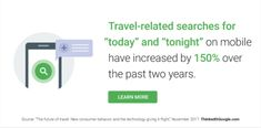"""TRAVEL-RELATED SEARCHES FOR """"TODAY"""" AND """"TONIGHT"""" on mobile have increased by 150% over the past two years"""
