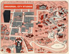 A guide map of Universal Studios Universal City California, California Travel, Film Studio, Studio City, Theme Park Map, Universal Studios Parking, Father Knows Best, Map Maker, Ocean Sounds