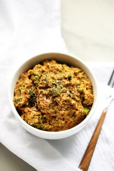 Cheesy Broccoli Cauliflower Rice (vegan, gf) via Vegetarian Entrees, Vegan Dinners, Whole Food Recipes, Vegan Recipes, Fodmap Recipes, Free Recipes, Dinner Recipes, Clean Eating Recipes, Healthy Eating