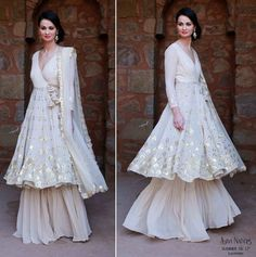 Sufi night outfit , sharara , White layered sharara , angrakha silhouette