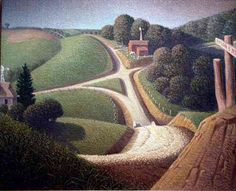 Stone City Iowa painted by Grant Wood (@ Amy Potts) Grant Wood Paintings, Modern Paintings, Oil Paintings, Landscape Art, Landscape Paintings, Iowa, Artist Grants, Stone City, Vie Simple
