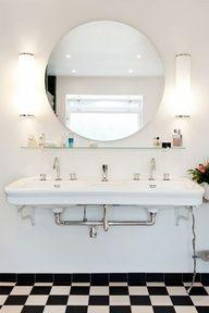 New bathroom in 1930's style (funkis) in Södra Ängby, Stockholm, Sweden.