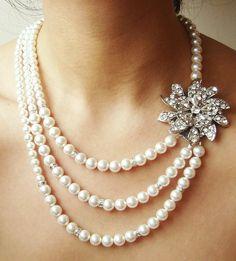 Cream Bridal Pearl Necklace <3
