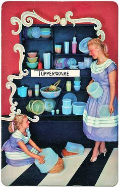 "Remember Mom Having Tupperware Parties? "" Tupperware Party invitation /postcard / Iowa 1957"""