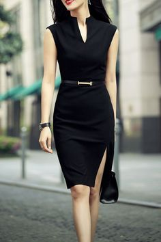 Zenpp Black Slit Sheath Dress | Knee Length Dresses at DEZZAL