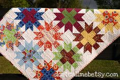 Star Crossed Stitch quilt - unwashed detail #1 by Don't Call Me Betsy, via Flickr