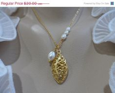10SALE Filigree Gold Teardrop and Pearl by Jenalynscreations, $18.00