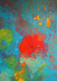 Blue painting abstract with blues reds by BryanAnthonyStudio, $499.00