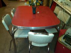 Red Formica table...I would love to find a table top this color in the right size for a kitchen project while at the Longest Yard Sale this year!!!