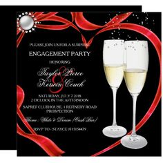 Shop Champagne & Heart Engagement Black Silver red Invitation created by Zizzago. Elegant Invitations, Zazzle Invitations, Surprise Engagement Party, Corporate Invitation, Quinceanera Invitations, Engagement Party Invitations, Create Your Own Invitations, Paper Design, Engagement Photos