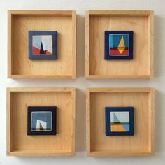 More modern and clean look.between a crate and a frame. Cute way to display mini, mini quilts Frames For Canvas Paintings, Quilt Display, Mini Canvas Art, Creative Textiles, Mid Century Art, Erin Wilson, Frame Crafts, Hand Art, Small Art