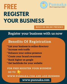 Register your business with us now Benefits of registration *lost your business in online directory *Increase web traffic *Enhance your online presence *create your brand awareness *Rank higher on google *Get backlinks for your website For free register your business go to www.punnaka.com and add business