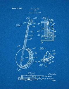 Amazon gibson les paul guitar patent new famous invention banjo patent print art poster blueprint 11 x malvernweather Choice Image