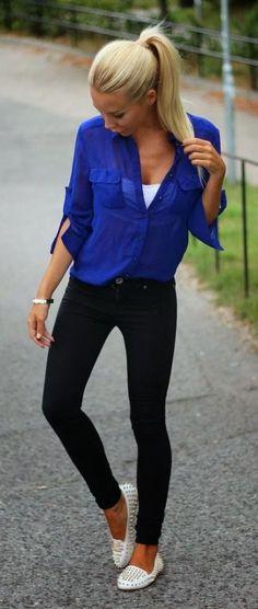 Tight jeans royal blue