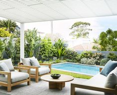 Bare backyard transformed into a contemporary coastal garden Horticulturist and designer Adam Robinson shares the clever landscaping tips he used to create a relaxed outdoor space and coastal garden for the owners of this eastern Sydney home. Backyard Pool Landscaping, Backyard Pool Designs, Small Backyard Pools, Swimming Pools Backyard, Landscaping Tips, Backyard Ideas, Tropical Landscaping, Outdoor Lounge, Outdoor Spaces