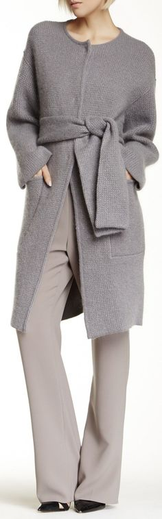 Giorgio Armani Wool Blend Coat women fashion outfit clothing style apparel ♦F&I♦ Look 2018, Knitted Coat, Knitwear Fashion, Up Girl, A Boutique, Fashion Outfits, Womens Fashion, Pull, Mantel