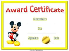 kindergarten diplomas with mickey mouse | Mickey Mouse