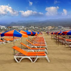 Picture of Playa del Ingles Maspalomas beach sand sunroof and hammocks in Gran Canaria stock photo, images and stock photography. Bilbao, Madrid, Spain Holidays, Beach Tops, Canary Islands, Belleza Natural, Sun Lounger, Hammock, Places To See