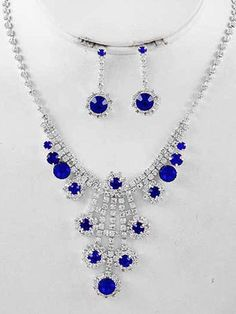 Beautiful Sapphire Royal Blue and Clear Vintage Style Rhinestone