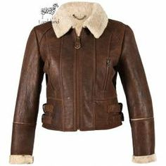 This Ladies Sheepskin Flying Jacket has been updated for a more fashionable look, with adjustable waist buckles, 2 zipped chest pockets, full zip front fastening, flattering stitch panel detail and a distressed finish Sheepskin Jacket, Sheepskin Slippers, Coats For Women, Jackets For Women, Ladies Jackets, Soft Leather Handbags, Aviator Jackets, Womens Scarves, Nice Tops