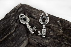 Key Charms 17x34mm Antique Silver Greek Cast by Mebeadterranean