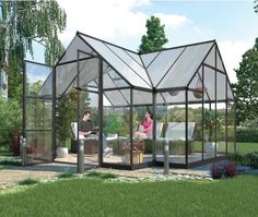 Large Garden Greenhouse Glass Summer House Aluminium Patio Log Cabin Planthouse  #Unbranded #HobbyGreenhouse