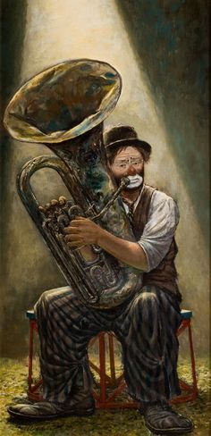 """""""Otto and Tuba"""" c. Music Painting, Art Music, Tuba Pictures, Circus City, Brass Music, Circus Poster, Trumpets, Fine Art Photography, Illustrators"""