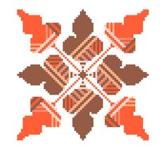 Autumn oak leaves cross stitch tile. Modern by crossstitchtheline A beautiful repeat pattern in warm colours that will look gorgeous anywhere!