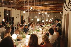 Gorgeous Reception Venue at Langkloof Roses Wellington, Cape Town. Light bulbs make the perfect ambiance. -Le Sueur Photography