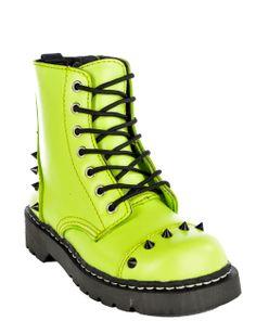 Black Cone Stud Anarchic Boot Neon Green