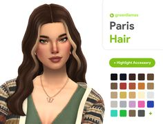 Paris Hair - greenllamas | greenllamas on Patreon Los Sims 4 Mods, Sims 4 Cas Mods, Maxis, Sims 4 Mm Cc, Sims Four, Sims 4 Mods Clothes, Sims 4 Clothing, Vêtement Harris Tweed, Mm Paris