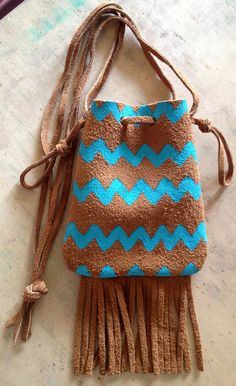 Authentic Native American Indian Chevron Hand Painted Leather Pouch
