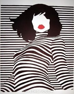 striped art black and white lips red art black artistic white stripes woman illustration pop art