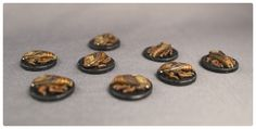 Miniature figures from the Mice and Mystics tabletop board game that I've painted. These are the Roaches.