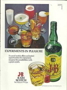 "1972 Print Ad for J B RARE Scotch Whisky ""Experiments in Pleasure""   eBay"