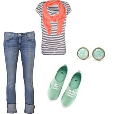 Love the coral and turquoise and stripes