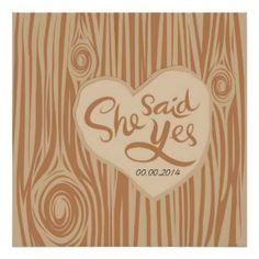 Faux Bois heart on tree with phase poster