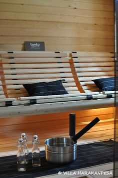 New sauna bench design | is this called air conditioned with great drainage? Looks comfy!