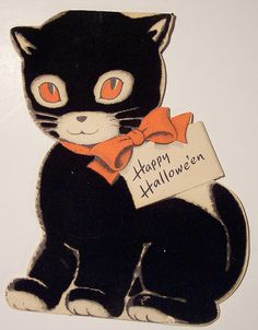 """Vintage Halloween Greeting Card ~ Black Cat """"Happy Halloween"""". 1956 (The description didn't say, but the kitty appears to be flocked.)"""