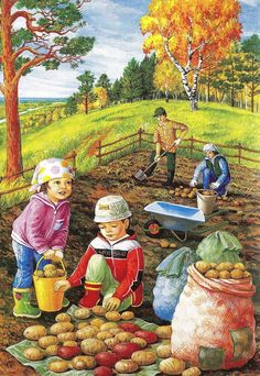 Solve potato farm jigsaw puzzle online with 176 pieces Whatsapp Fun, Foto Gif, Country Art, Autumn Activities, Illustrations, Painting Inspiration, Cute Pictures, Clip Art, Seasons