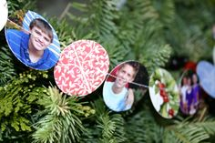 "What to do with Christmas cards... punch them with a 2"" circle punch and easily sew through them back to back on a sewing machine with white thread."