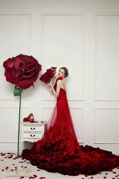 Amazing Beautiful #Red Long #Gown #Wedding #Dress