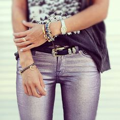 Song of Style blogger Aimee Song in 7FAM's The Skinny in Liquid Metallic Rose Metal #7After7 #7FAM