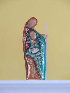 """Wooden Nativity set from Ecuador, Holy Family, Nativity scene 12"""" tall"""