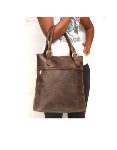 Leather tote bag Dark brown bag market bag library bag by abizema, $79.99