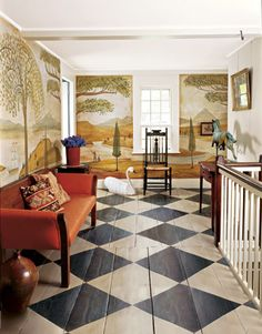 diamond checkerboard painted floor and Rufus Porter-style mural by David B. Wiggins= love this floor Painted Wood Floors, Wooden Flooring, Kitchen Flooring, Painted Furniture, Painted Walls, Slate Flooring, Rubber Flooring, Farmhouse Flooring, Penny Flooring