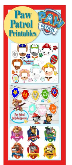 Free printables for Paw Patrol party. Free Paw Patrol Photo Props.Kid's birthday…