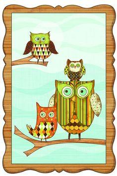 Owl Window Wall Mural in Orange