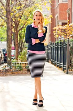 Lifestyle by Joules - How to transition a striped pencil skirt from summer to fall